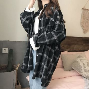 Women Plaid Shirts Spring Long Sleeve Blouses Shirt Office Lady Cotton Shirt Casual Loose Tops Plus Size Blusas 0.25KG