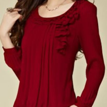 Flounging Spliced Style Scoop Neck Long Sleeve Chiffon Blouse