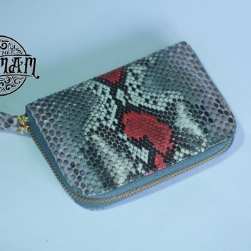 Handmade Genuine Real Snake Skin Python Leather Women's Wallets Coin Purse Gray