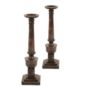 Pair, Aged Finish Pedestal Pillar Candle Holders
