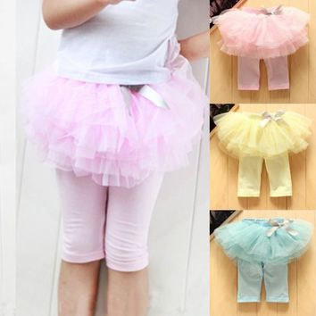 Kids Baby Girls Skirts Summer Skirt Leggings Gauze Pants Party Tutu Skirts Bow Candy