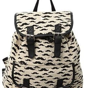 Mustache Cinch Canvas Backpack - 835337
