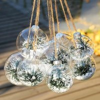 10pcs 8cm DIY Paintable Transparent Christmas Ornament Decoration 80mm Glass Ball With Silver (Only Glass)