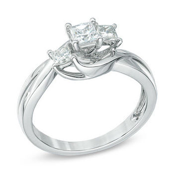 1/2 CT. T.W. Princess-Cut Diamond Three Stone Swirl Engagement Ring in 14K White Gold - View All Rings - Zales