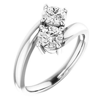 1.0 Ct Diamond Two Stone Love Engagement Ring  14k White Gold