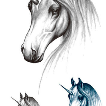 RC2245 Waterproof Temporary Tattoo Sticker Zodiac Horse Design Flash Fake Tattoo Body Art Water Transfer Tattoo Sticker 1pc