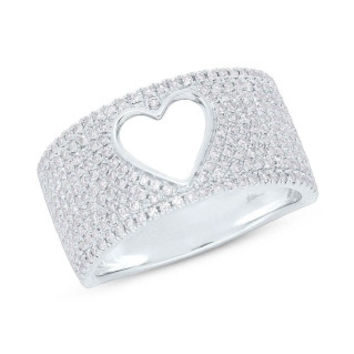 0.71ct 14k White Gold Diamond Pave Heart Ring