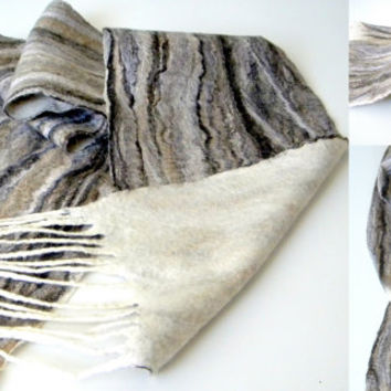 "Spring sale! Brown Felted scarf Felt natural scarves Long scarf unisex scarves Merino wool trending scarf winter scarf 87""/11,5"" with tas..."