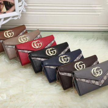 One-nice™ GUCCI Women Leather With Metal Chain Purse Wallet H-MYJSY-BB
