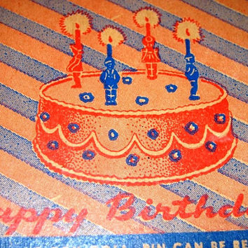 Vintage 1950's Birthday Candle Cake Toppers, Holders, Retro 50's Boy Blues, Birthday Party Candles, Party Favors Antique