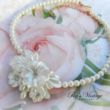 Vintage Celluloid & Faux Pearl Flower Necklace/Shabby Chic Floral Bridal Jewelry