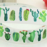 "Cactus Grosgrain 7/8"" Printed Ribbon"