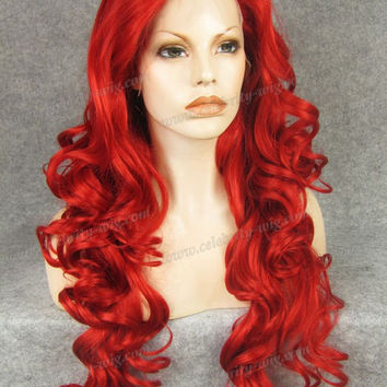 N5-3100 Top sales long wavy Bright Red curly new style top quality synthetic lace front wig