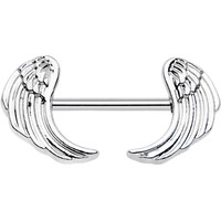 Stainless Steel Sheathed Angel Wings Barbell Nipple Ring | Body Candy Body Jewelry