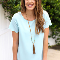 Right Move Scallop Top - Baby Blue