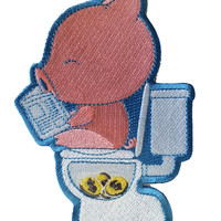"""""""Cha Ching"""" Pig Pooping Coins in Toilet Funny Parody - Novelty Iron On Patch Applique HS P - CHL - 0002"""