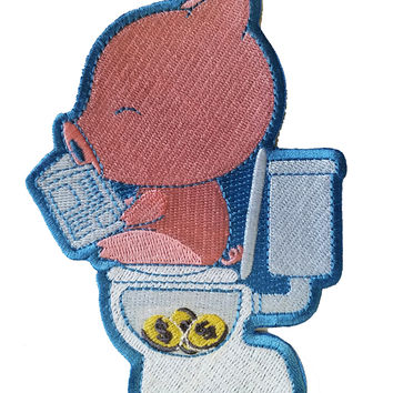 """Cha Ching"" Pig Pooping Coins in Toilet Funny Parody - Novelty Iron On Patch Applique HS P - CHL - 0002"