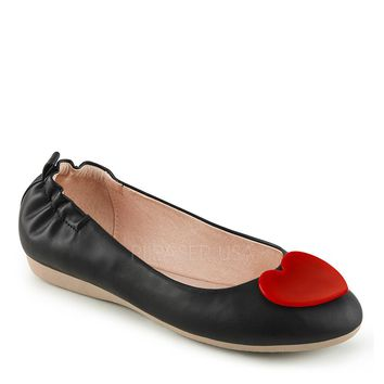 Pin Up Couture Black Olive Heart Ballet Flats