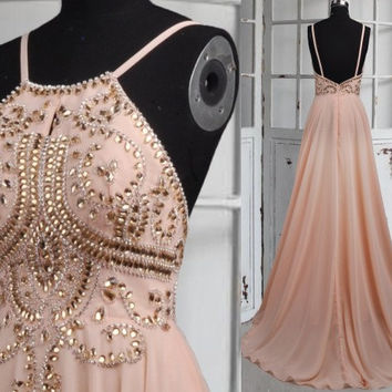 Long Flesh Pink Backless Prom Dresses,Stunning Crystal Beaded Prom Dresses,Formal Grown Evening Dresses,Homecoming Dresses
