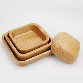 Square Wooden Salad Bowl Large Rice Bowl Healthy Natural Soup Bowl Dessert Bowl Kitchen Tool Tableware Dinner Set