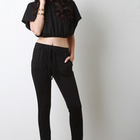 Jersey Knit Hooded Loose Crop Top