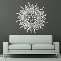 Wall Decals Sun Moon Crescent Dual Ethnic Stars Night Symbol Sunshine Wall Vinyl Decal Stickers Art Bedroom