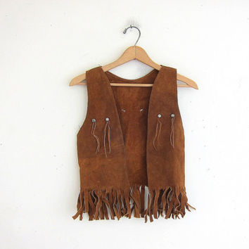 Vintage leather vest. fringed western vest. brown suede vest with fringe