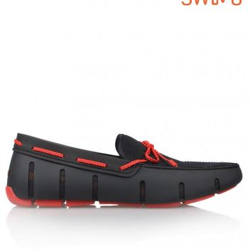 SWIMSBRAIDED LACE LOAFER - BLACK/RED