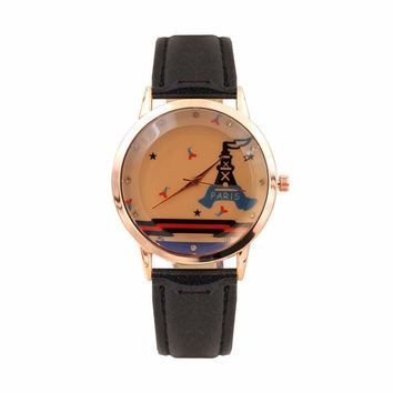 xiniu Vintage Women Watches PU Leather Strap Cartoon Pattern Dial Quartz Analog Wrist Watch relogios feminino montre femme 2017