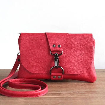 Mini Red Leather Messenger Bag, Summer Festival Bag, Small Crossbody, Leather Cross Body Purse, Minimalist Phone Clutch, Leather Pouch