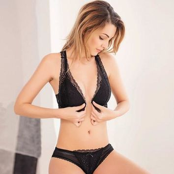 Sexy Lace Bra Wireless Open Bras Set For Women Push Up A B C Cup Embroidery Plus Size Underwear Set Bra and Panty Set Underwear