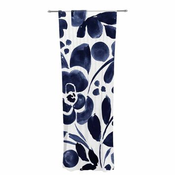 """Crystal Walen """"Watercolor Floral"""" - Navy Painting Decorative Sheer Curtain - Outlet Item"""