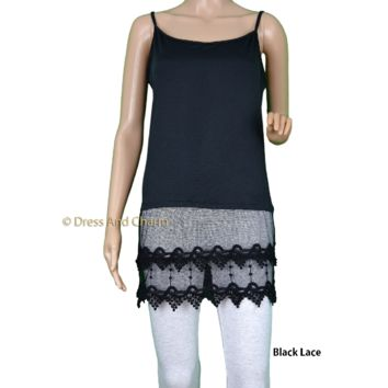 Black lace top extender, lace cami tank, tshirt extender, lace camisole, Plus Sizes Available