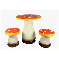 3-Piece Mushroom Table and Chair Novelty Garden Patio Furniture Set 30928799 | ChristmasCentral