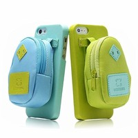 CrazyPomelo Creative Backpack Storage Leather Phone Case For iPhone 5/5S (Blue)