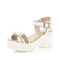 River Island Womens White chunky cleated sole sandals
