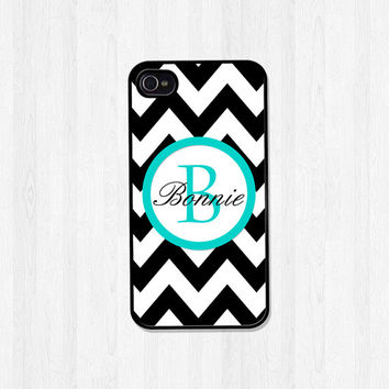 Personalized iPhone Case iPhone 5 Case iPhone 5S Case iPhone 4 Case Samsung Galaxy S3 S4 Phone Cover Black Chevron Turquoise Monogram (374)