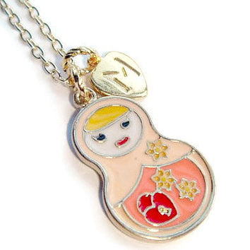 Doll Personalized Charm Necklace - Matryoshka Jewelry - Nesting Doll ...