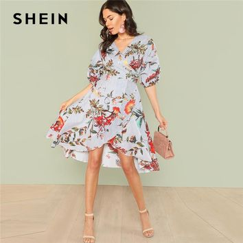SHEIN Mixed Print Asymmetrical Ruffle Hem Surplice Wrap Dress 2018 Summer V Neck Short Bishop Sleeve Dress Women Vacation Dress