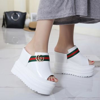 Gucci Women Fashion Casual CC Logo Sandal Platform Heels Shoes