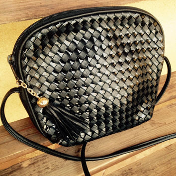 Hipster Purse, Crossbody Bag, Black Woven Purse Handbag, Weaved Crossbody Bag, Hipster Crossbody Bag, Tinsel Bag