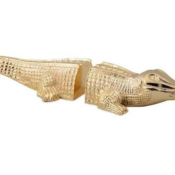 Gold Alligator Bookends