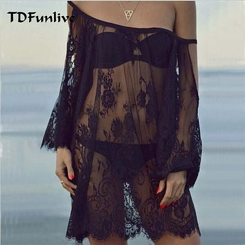 TDFunlive Saida De Praia 2019 Beach Cover Up Pareo Playa Coverup Dress Vestido Livre Swimsuit Wear Swimwear Lace Women Beachwear