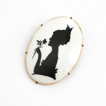 Antique Cameo Brooch - Vintage Edwardian Art Deco Brass Hand Painted Costume Jewelry Silhouette Pin