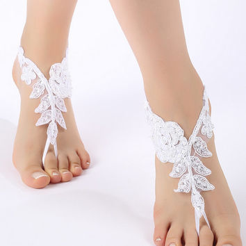 Free Ship ivory or white, flexible ankle sandals,  laceBarefoot Sandals, french lace, Beach wedding barefoot sandals