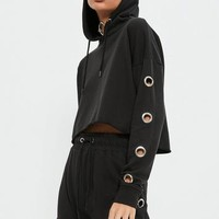 Missguided - Black Eyelet Detail Cropped Hoodie