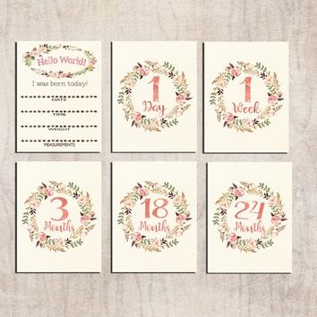 Baby milestone cards printable Bohemian Baby Monthly Photo prop cards Rustic floral Watercolor 1 Day card 1 week card 1 month year DOWNLOAD
