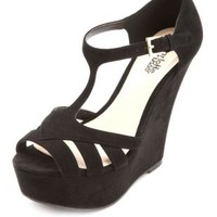 Cut-Out Peep Toe T-Strap Platform Wedges by Charlotte Russe - Black