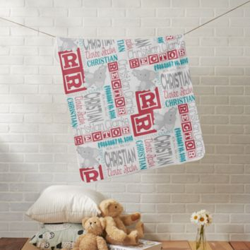 Personalized Baby Blanket with Stuffed Animal - Boy or Girl