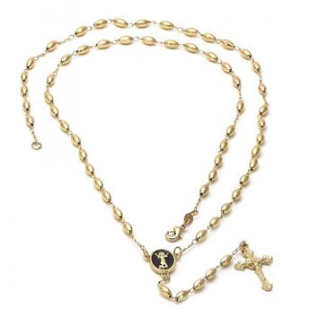Gold Layered 5.214.004 Large Rosary, Divino Niño Design, Black Enamel Finish, Golden Tone